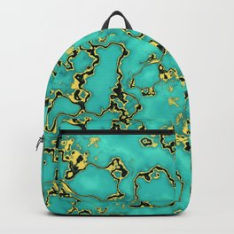 Turquoie Gold Marble Green Mint Aqua Backpack