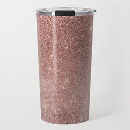 Girly Glam Pink Rose Gold Foil and Glitter Mesh Travel Mug