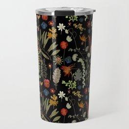 Dark Floral Sketchbook Travel Mug