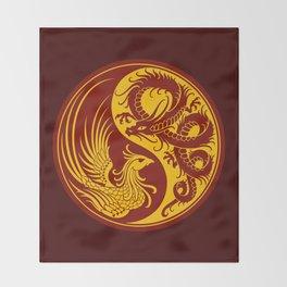 Yellow and Red Dragon Phoenix Yin Yang Throw Blanket