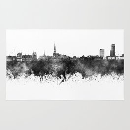 Leeuwarden skyline in black watercolor Rug