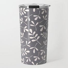 Assorted Leaf Silhouettes Cream on Grey Ptn Travel Mug