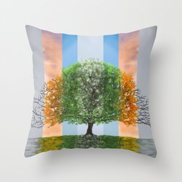 The seasons of the year in a tree Throw Pillow