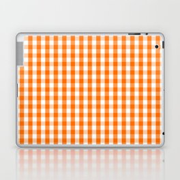 Classic Pumpkin Orange and White Gingham Check Pattern Laptop & iPad Skin