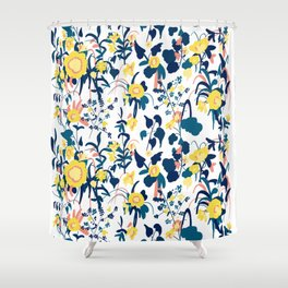 Beau Buttercup Yellow, Salmon Pink, And Navy Blue Flowers On White Background  Pattern Shower Curtain