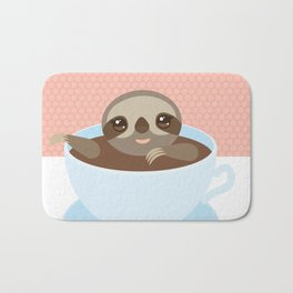Sloth in a blue cup coffee, tea, Three-toed slot Bath Mat