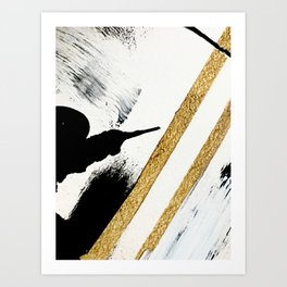 Armor [8]: a minimal abstract piece in black white and gold by Alyssa Hamilton Art Art Print