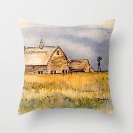 Barns and Windmill Throw Pillow