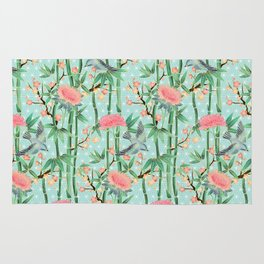 Bamboo, Birds and Blossom - soft blue green Rug