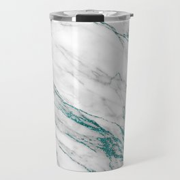 Gray Marble Aqua Teal Metallic Glitter Foil Style Travel Mug