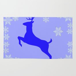 DECORATIVE LEAPING CHRISTMAS  BLUE DEER & SNOWFLAKES Rug