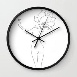 Minimal Line Art Flower Woman Wall Clock