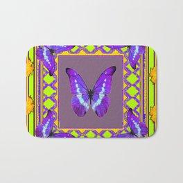 Decorative  Purple  Butterflies Green & Gold Pattern Art Bath Mat