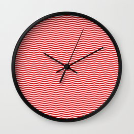 Red and White Christmas Chevron Stripes Wall Clock