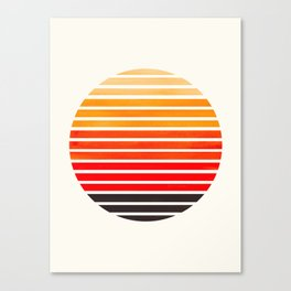 Orange Mid Century Modern Minimalist Scandinavian Colorful Stripes Round Circle Frame Canvas Print