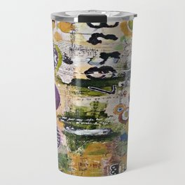 Mixed Media Art. Numbers, Circles & Words. Purpose Art. Deep Plum, Yellow, Greens and Blues Travel Mug