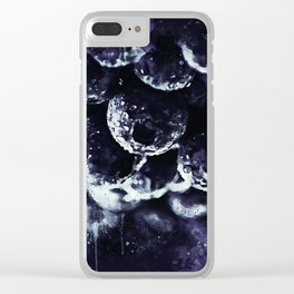 blueberry blue berries pattern splatter watercolor deep purple Clear iPhone Case