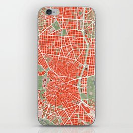 Madrid city map classic iPhone Skin
