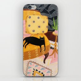 black cat on mustard yellow sofa painting by Tascha iPhone Skin