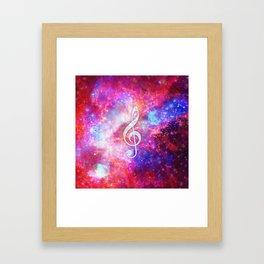 Galaxy Nebula Glitter Music Note Pink Space Framed Art Print