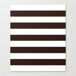 Tamarind brown - solid color - white stripes pattern Canvas Print