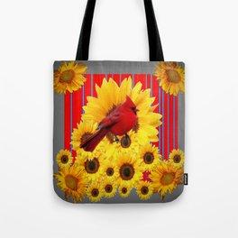 YELLOW SUNFLOWERS RED CARDINAL GREY  ART Tote Bag