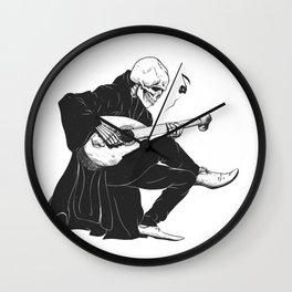 Minstrel playing guitar,grim reaper musician cartoon,gothic skull,medieval skeleton,death poet illus Wall Clock