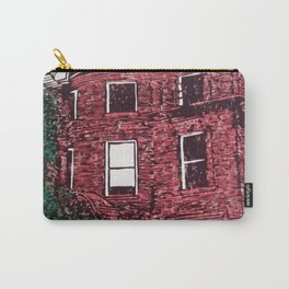 red brick house obstructed by trees linocut Carry-All Pouch