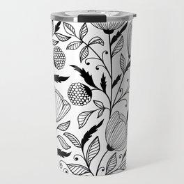 Black white flowers Travel Mug