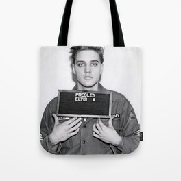 ELVIS PRESLEY ARMY MUGSHOT Tote Bag