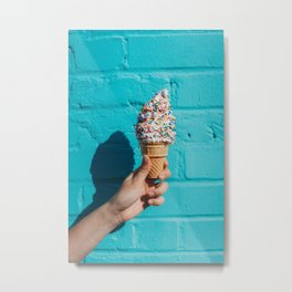 Holding a colorful ice cream Metal Print