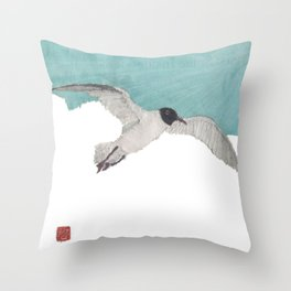 Seagull, Sky, Beach, Coastal Throw Pillow