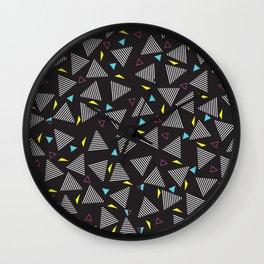 Retro Vintage 80s Pattern Dark Wall Clock