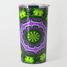 Mandala purple and green Travel Mug