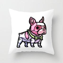 Pink Gorilla X Enfu Bulldog Mech  Throw Pillow