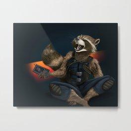 Rockin Raccoon Metal Print