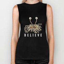 Believe - Flying Spaghetti Monster Agnostic Atheists Biker Tank