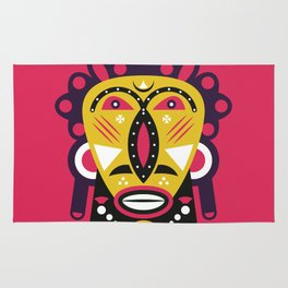 African Kuba Face Mask Rug