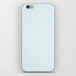 Duck Egg Pale Aqua Blue and White Vertical Nautical Sailor Stripe iPhone Skin