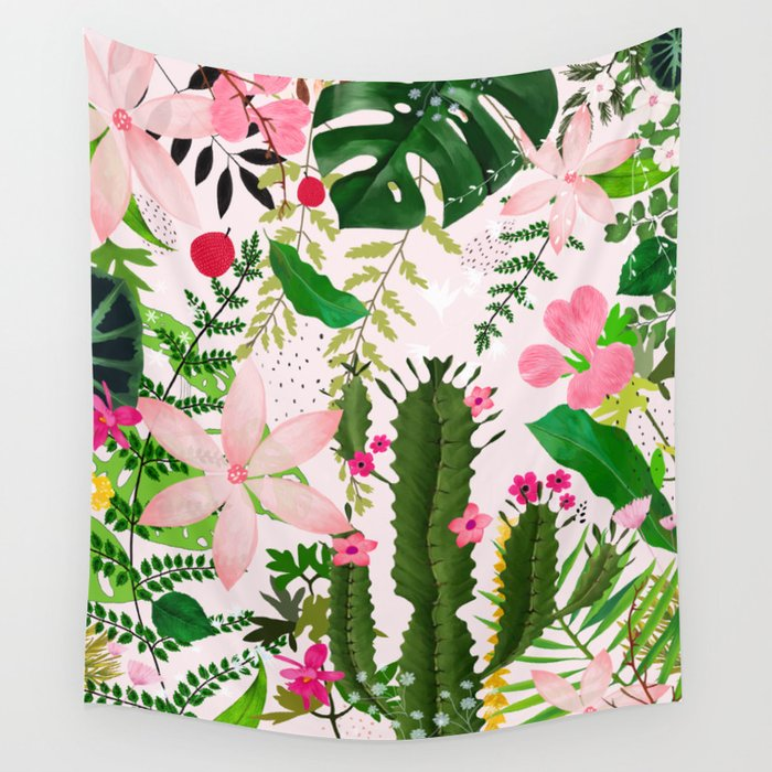 Pink desert flowers wall tapestry by artandghosts society6 mightylinksfo