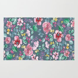 Pink Flowers on Gray Rug