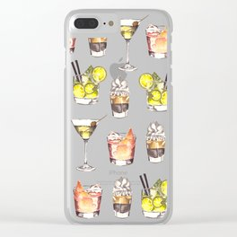 Fun Watercolor Drinks Pattern- Party Time Clear iPhone Case