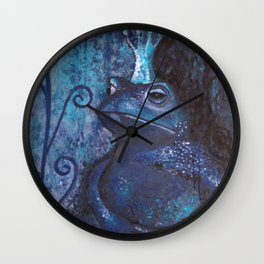 The Frog King - blue Wall Clock