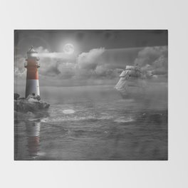 Lighthouse and Sailboat under moonlight Throw Blanket
