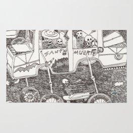 "Carretera de coches con esqueletos ""Santa Muerte"" Rug"