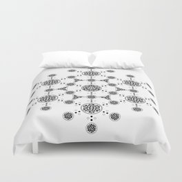 molecule. alien crop circle. flower of life and celtic patterns Duvet Cover