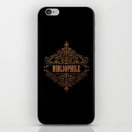 Gold Bibliophile on Black iPhone Skin