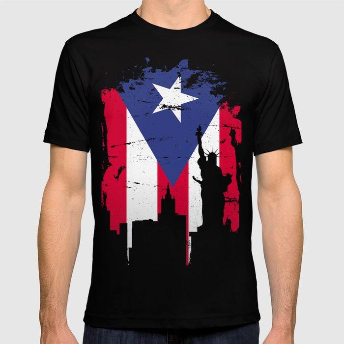 New York And Puerto Symbol Merged T-shirt T-shirt