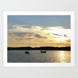 Sunset over Lancashire sea fishing boats  Art Print
