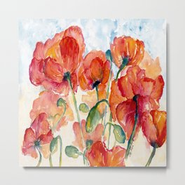 Tangerine Orange Poppy field WaterColor by CheyAnne Sexton Metal Print